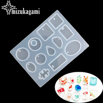 UV Resin 12 Designs Cabochon Silicone Mold Necklace Pendant Making Mould DIY Hand Craft resin molds For Jewelry