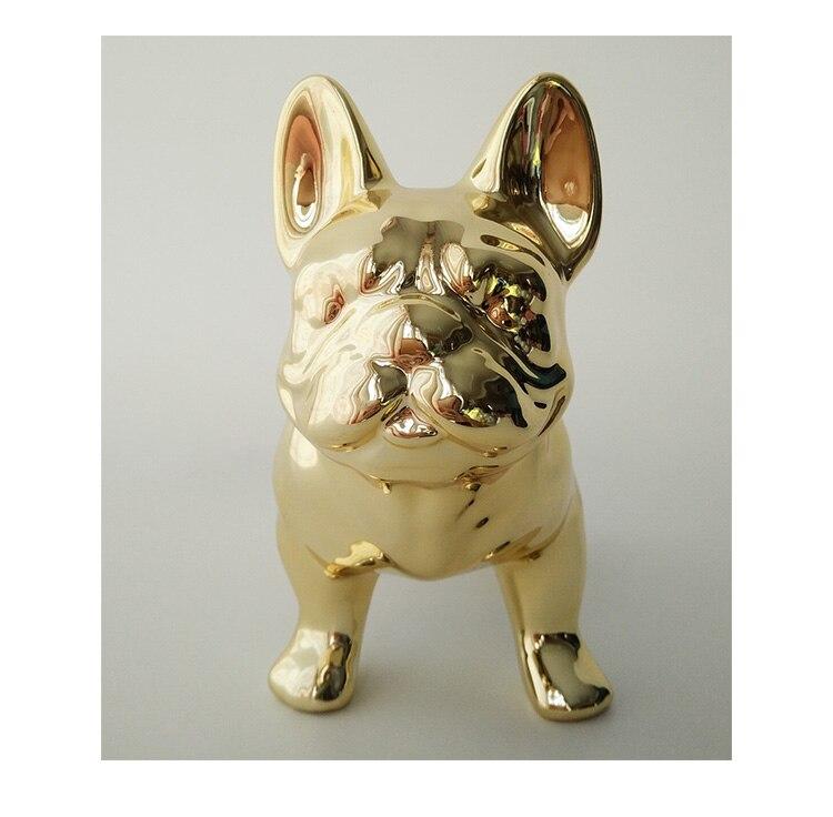 Adornos creativos de Bulldog Francés decoración de escritorio chapado en oro/plata cerámica lindo cerdito sala de estar francés cubo Decoración - 3