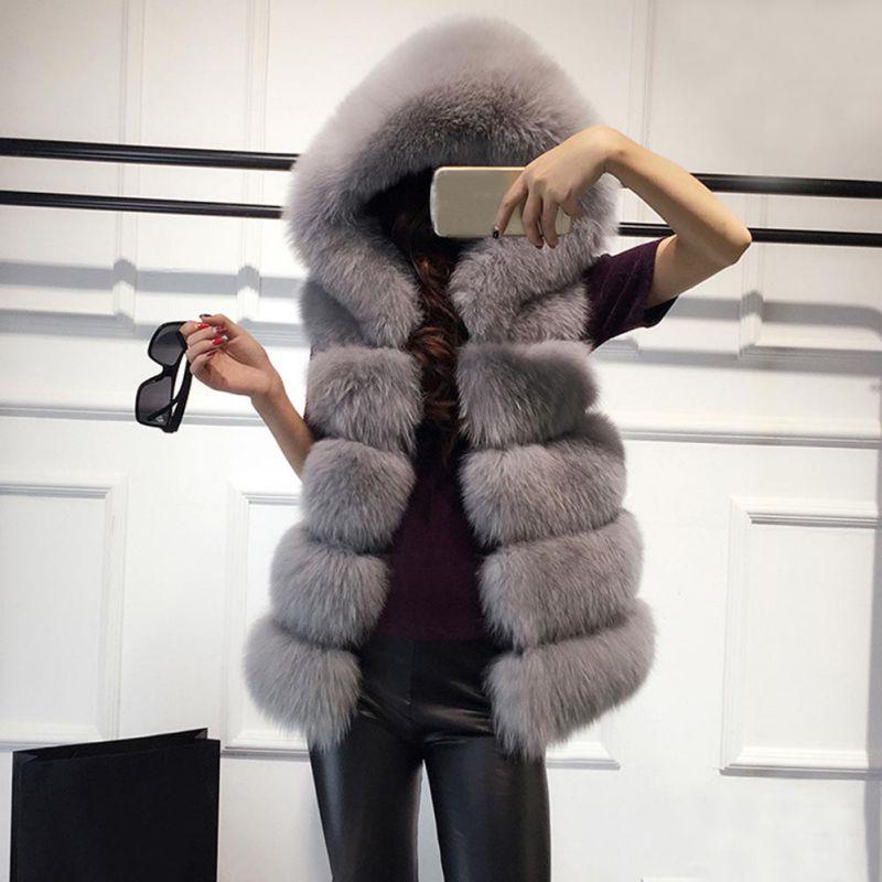 Women Hooded Warm Gilet Outwear Slim Vest Faux Fur Winter Waistcoat Jacket Coat