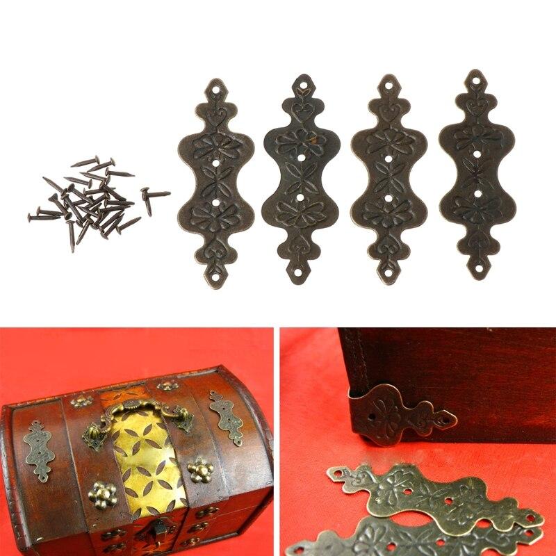 4 Stks Antiek Messing Decoratieve Sieraden Geschenkdoos Album Voeten Been Hoek Protector Modieuze (In) Stijl;