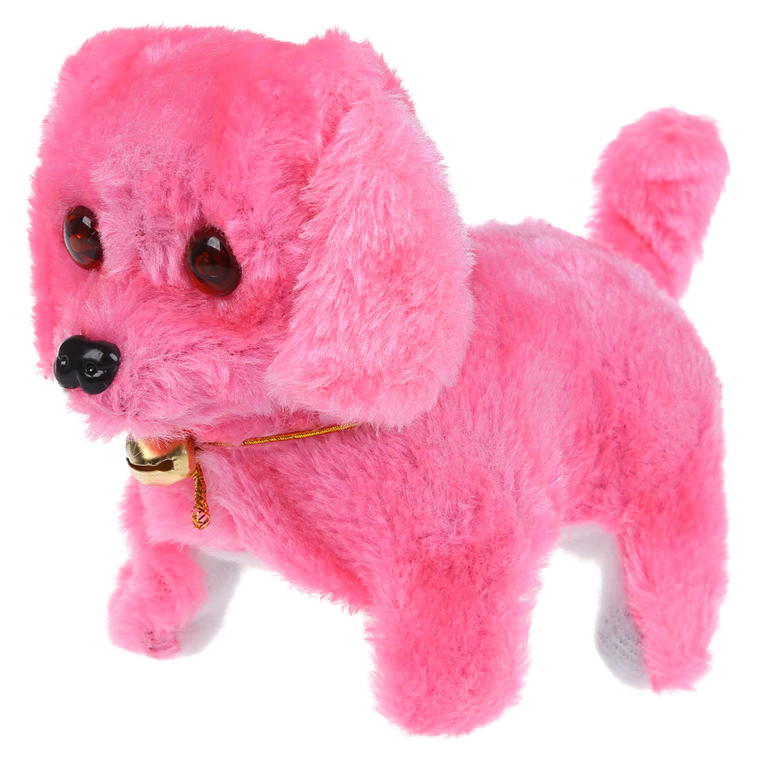 FBIL-Pink Plush Neck Bell Walking Barking Electronic Toy Gift
