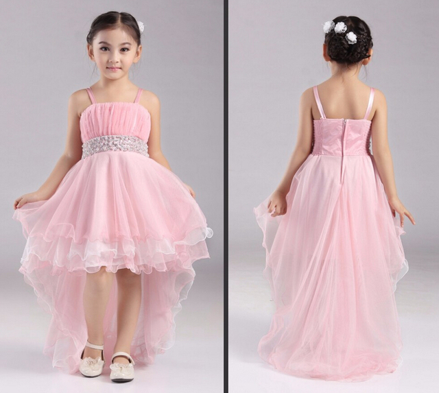 2016 cute pink flower girls dresses high low organza cheap pearl 2016 cute pink flower girls dresses high low organza cheap pearl sashes pleats beach spaghetti strapless mightylinksfo