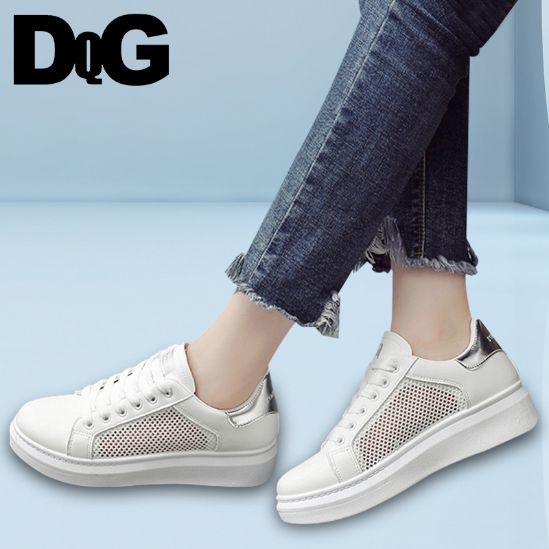 DQG 2018 Spring Flats Women Shoes Casual Lace Up White Shoes Female Sneakers Zapatos Mujer Hollow Breathable Summer Scarpe Donna vtota women genuine leather oxfords sneakers women white flat shoes spring platform shoes zapatos mujer lace up casual flats f93