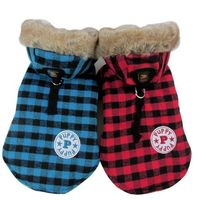 Pet Dogs Winter Coat Jacket British Plaid Hooded Style Cat Costume Apparel Warm