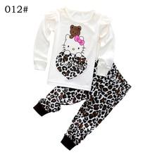 Girls Autumn Cotton Clothing Set Long Sleeve font b hoody b font Pants two pieces Kitty