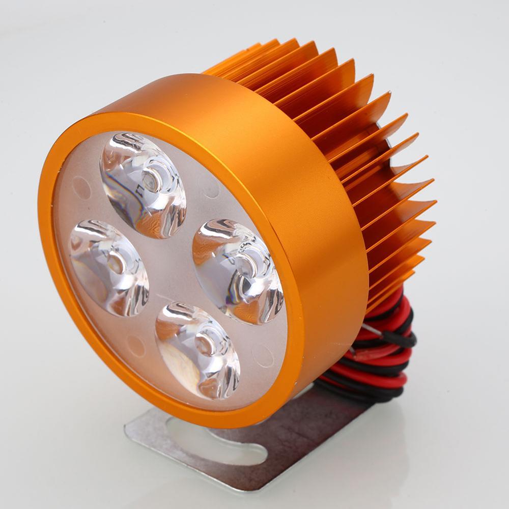 VEHEMO, светодиодный головной светильник для мотоцикла, электровелосипеда, фара для вождения, точечный светильник, водонепроницаемая лампа, 10 Вт, 4 цвета, для мотоцикла, DIY, головной светильник - Цвет: Golden