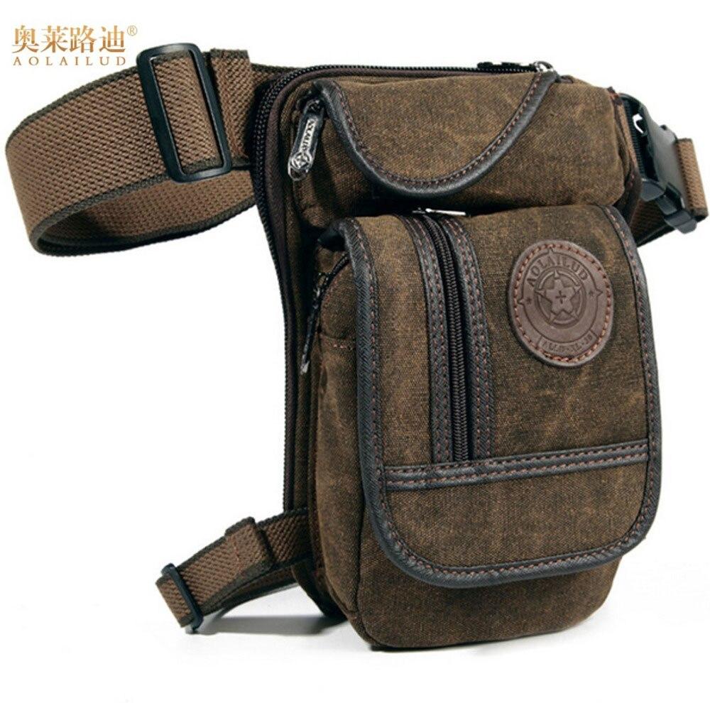 Men's Canvas Hip Belt Bum Fanny Pack Waist Thigh Leg Drop Bag Military Riding Motorcycle Men Crossbody Messenger Shoulder Bag