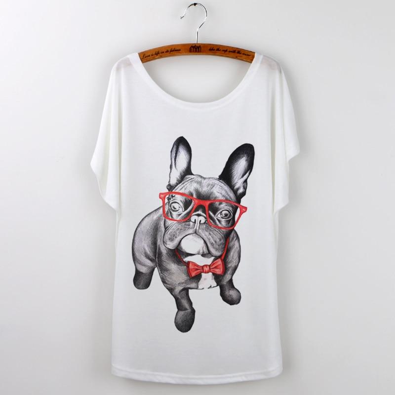Zomer T-shirt Vrouwen Mooie Grappige Pug Losse Batwing Mouwen Print - Dameskleding - Foto 4