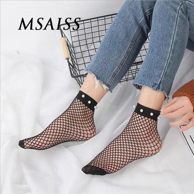 f3d09821e MSAIS Fashion Cute Women s Harajuku Black Mesh Short Ankle Socks Grid  Fishnet Docks Sexy Pearl Funny Ladies Socks Net Sokken