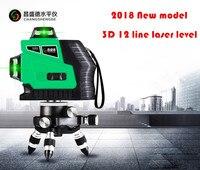 2018 новая модель Красные линии или зеленые линии 3D 12 линий лазерный уровень, самонивелирующийся 360 горизонтальный, вертикальный крест супер