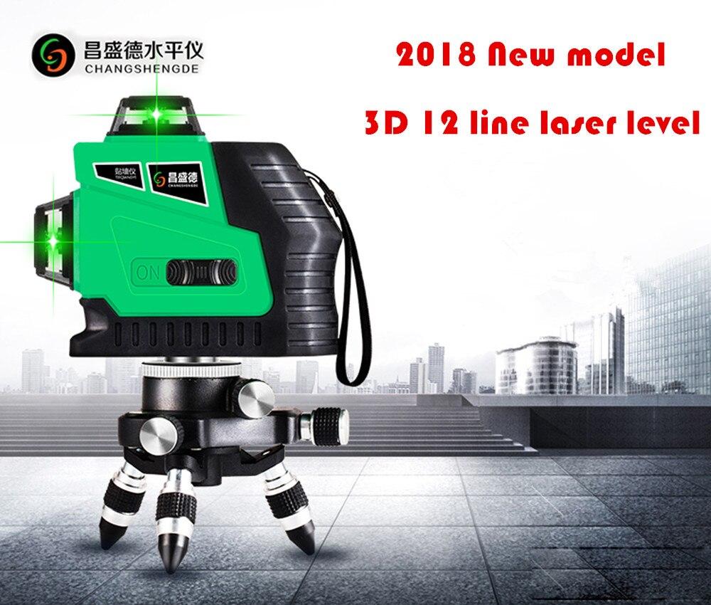 2018 Nouveau Modèle lignes Rouges ou lignes Vertes 3D 12 Lignes niveau laser Autolissant 360 Horizontale, coupe verticale Super Puissant