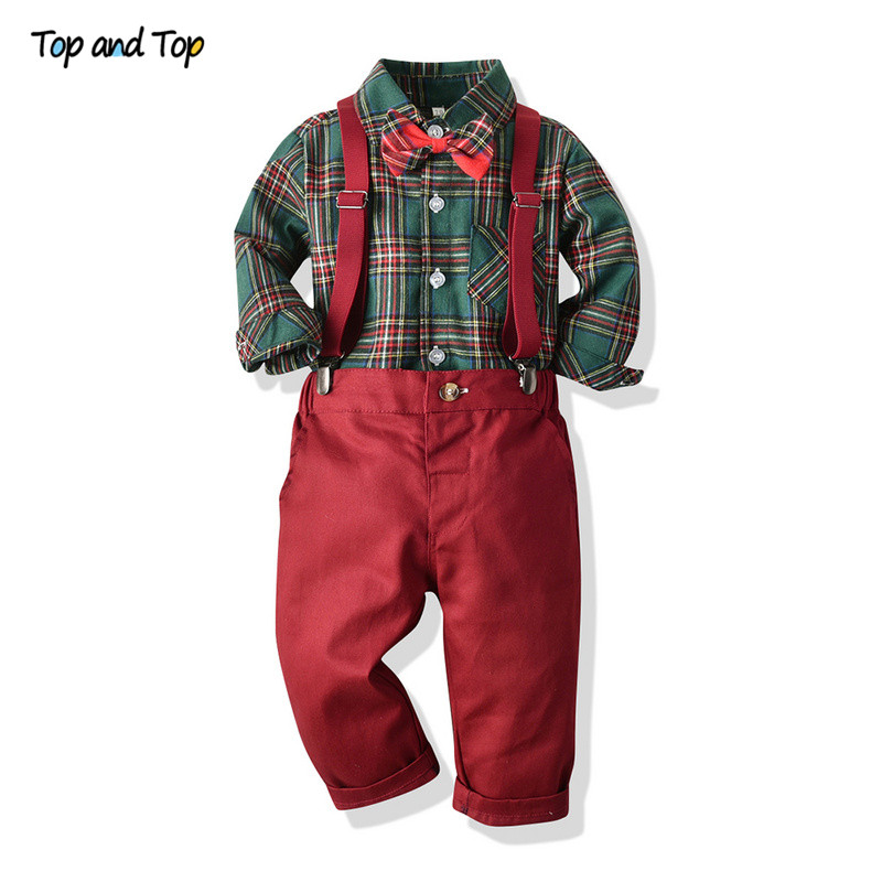 Top And Top Autumn Boys Gentleman Clothing Sets Long Sleeve Plaid Shirt With Bowtie+Suspender Trousers Kids Boys Clothes Bebe