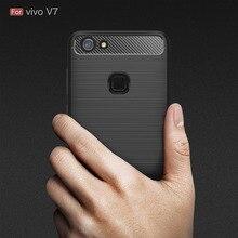 Vivo V7 Case Silicon Cover for  Plus phone case V 7 Soft Carbon Fiber Brushed Fundas Coque Etui Accessory