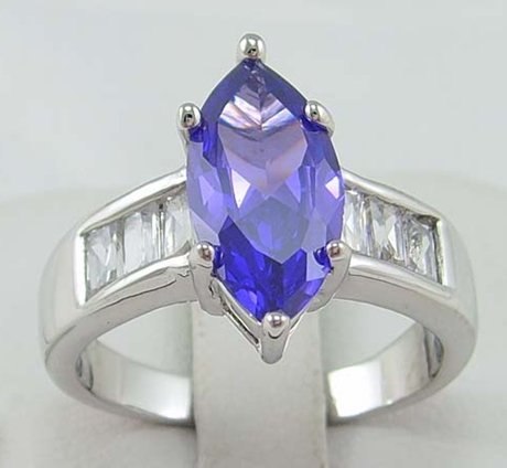 US SIZE8 BRAND NEW MEN/LADY JEWELRY GORGEOUS STUNNING 2.89CT PURPLE TANZANITE IN 14KT WHITE GOLD RING