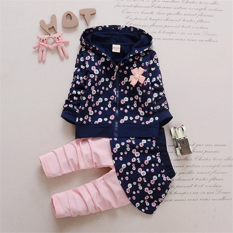 Spring Kids Girls Clothing Set Child Floral Outfits Autumn Wear tracksuit for Girl Hoodie + Skirt Pants 2PCS Children Sport Suit mihkalev spring children set for girl clothing set tops skirts girls 2pcs sport suit for children clothes suit kids tracksuit