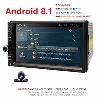 Универсальный 2din Автомагнитола Android 8,1 для автомобиля Nissan NO DVD плеер gps Wifi BT 2 Гб ОЗУ 16 Гб ПЗУ 4 г флеш Бесплатная карта LTE DAB сеть