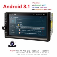 Universal 2din car radio Android 8.1 for Nissan Car NO DVD player GPS Wifi BT 2GB RAM 16GB ROM 4G Flash FREE MAP LTE DAB Network
