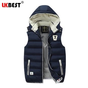 LKBEST 2019 Casual men's vest winter men sleeveless jacket hooded Keep warm waistcoat for men thicken Down Coat outerwear MJ12