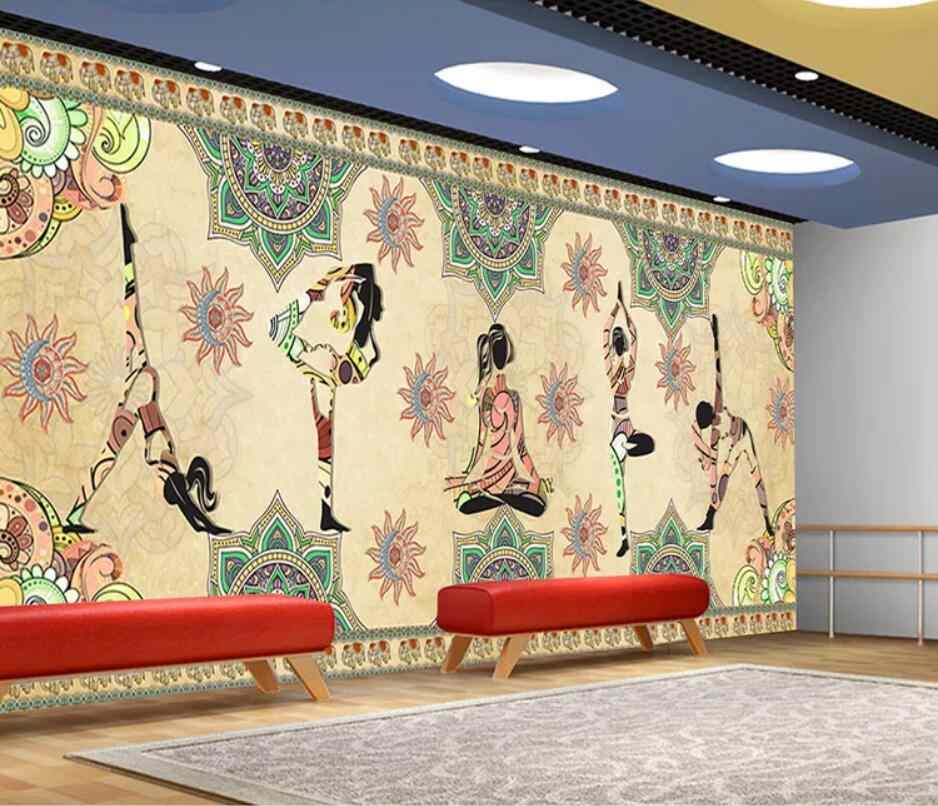 Thai India Yoga Studio Dance Studio Kesehatan Museum Lukisan Dinding Latar Belakang Dinding Dekorasi Mural Wallpaper