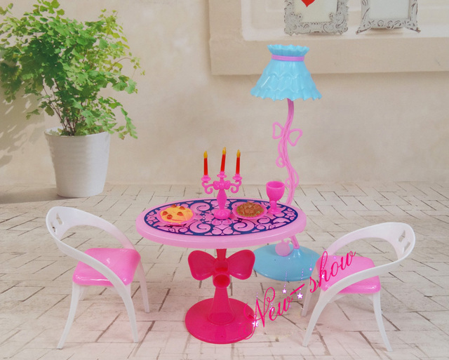 Dinner Table Lamp Chair Set / Pretend Play Dollhouse Dining Room Furniture  Accessories Decoration For Barbie