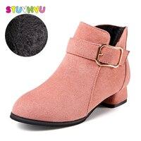 Children Princess Shoes Girls Pink Winter Boots High Heel Shoes Fashion Martin Boots Kids Plus Cashmere