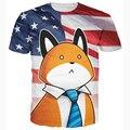 Новейшие Глупо Президент Фокс Майка Мужчины Женщины Милый Мультфильм т рубашки Летняя Мода Америка Флаг Печать футболки 3D майка тройники
