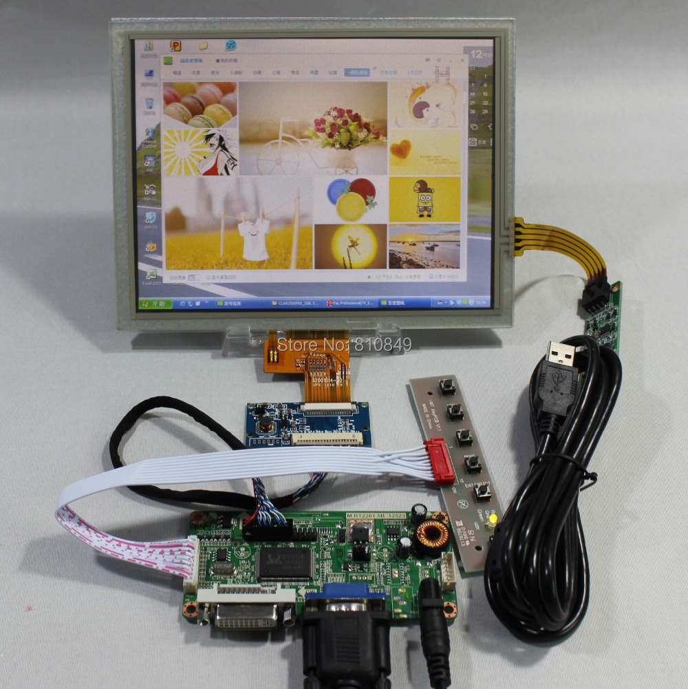 DVI VGA LCD Controller Board RT2281+8inch EJ080NA-04C 1024x768 LCD+Touch Panel vga 2av revering driver board 8inch 800 600 lcd panel ej080na 05b at080tn52