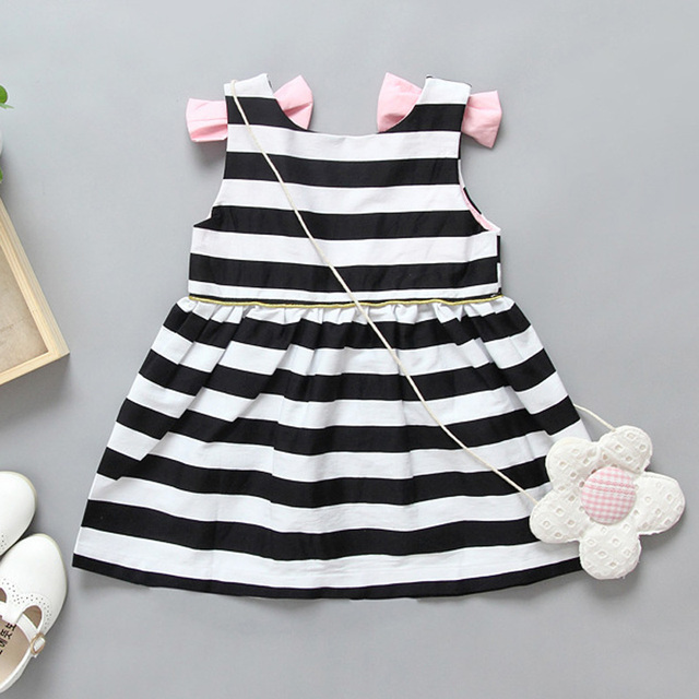 Hot sale Baby Girls black white stripe Dress