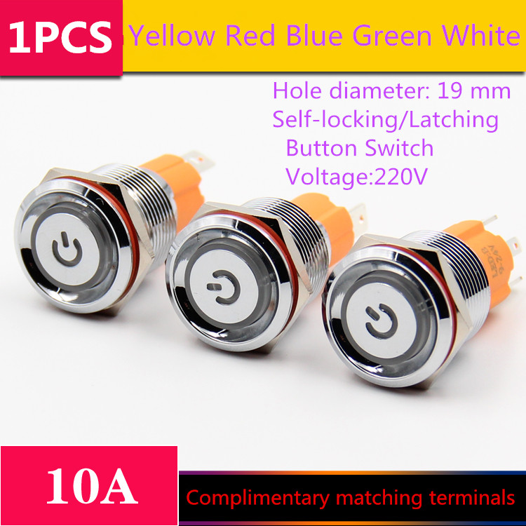 1PCS  YT1203    Hole Size 19 mm  Self-locking/Latching  Metal push button switch    With LED Light  220V  10A Free Shipping