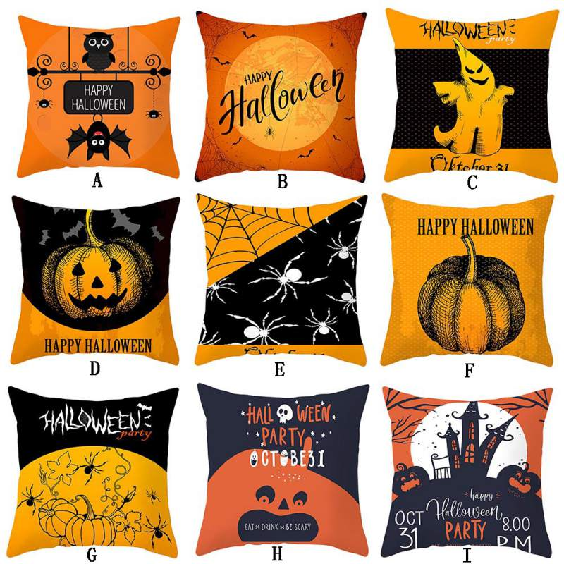 Halloween Pumpkin Witch Cushion Cover Halloween Decorative Pillowcase Peach Skin Square Pillow Case For Home Decoration in Cushion Cover from Home Garden