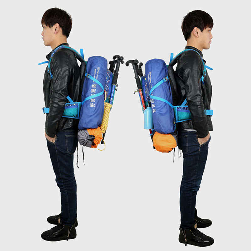 40L Etnik Patchwork Nilon Tahan Air Kolam Olahraga Gunung Ransel Wanita Pria Trekking Memancing Hiking Ransel XA283WD