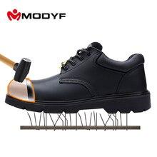 Modyf армейские ботинки для Для мужчин Оксфорд стали Туфли с закрытым носком Военное Дело подошва Высокое качество кожи дышащая подкладка защитная обувь