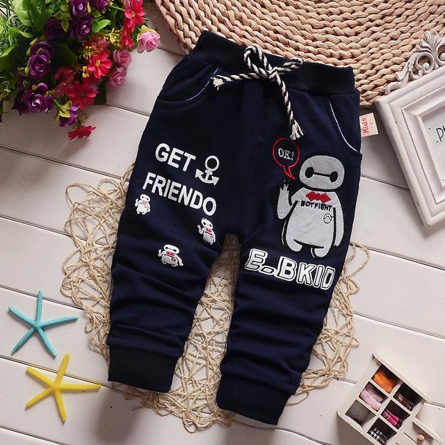 2016 Nueva Primavera Venta Caliente de La Historieta 3 Colores Pantalones de Bebé de Algodón 10-24 Meses Baby Boy Pantalones de Los Niños Niñas Pantalones harén