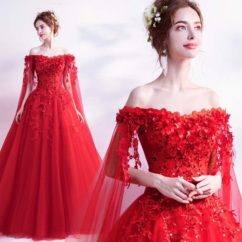Church Wedding Dresses 2018 Red Elegant 3D Flower Lace Tulle Plus Size  Bridal Ball Gowns Dress Vestido De Noiva With Cape C-in Wedding Dresses  from Weddings ... 1506d5394ad2