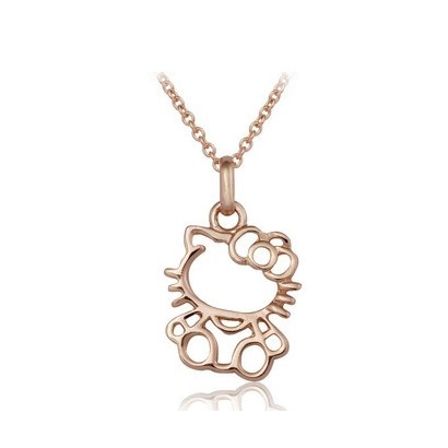 Italina <font><b>Lovely</b></font> <font><b>Hello</b></font> Kitty Pendant Necklace Gold Plated chain Necklace for women Party Jewelry top quality