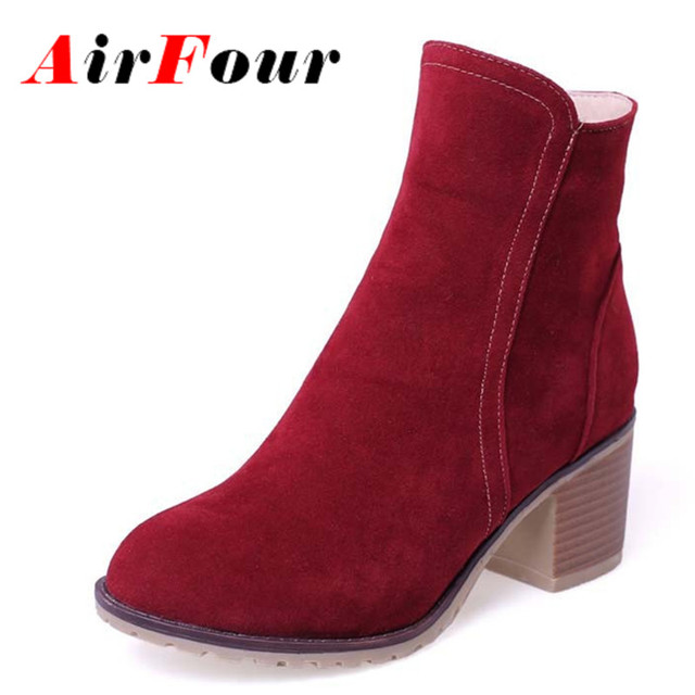 ENMAYLA 5 colors Fashion Sweet Style Shoes Ankle High Boots Solid Round Toe Platform Shoes Design Square Heels Martin boots