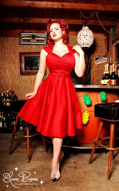 39a8cd6c602 Heidi Dresses 1950 s Pinup Girl Red Party Dress