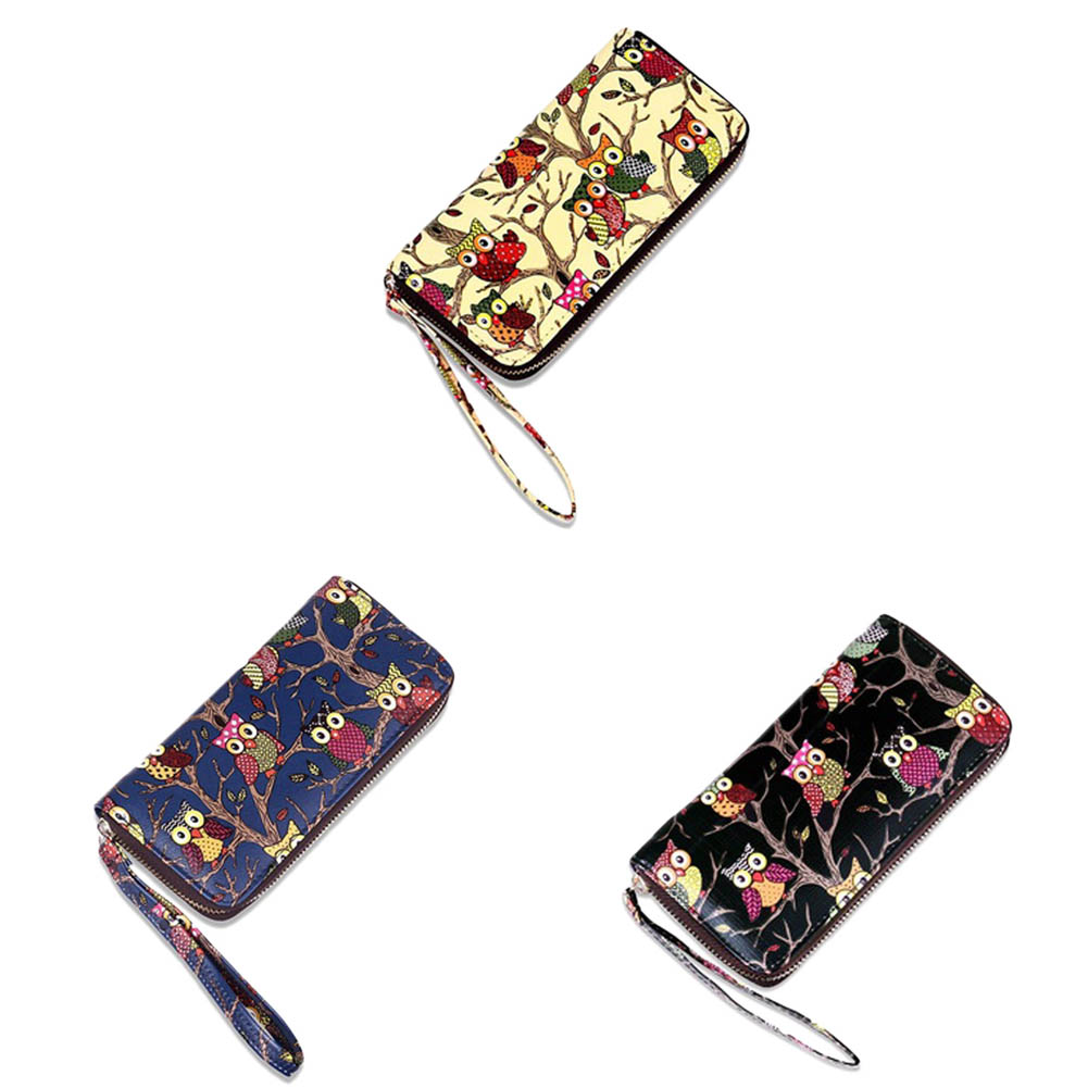 Wallet Hand Bag New Purse Owl Print Wallet With Car Holder Fashion Owl Print Zipper Hand Bag Women