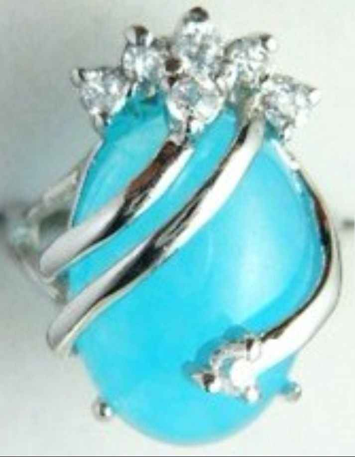 จัดส่งฟรี>>>@@ที่สวยงามและเตรียมพร้อมสีฟ้าอ่อนหยกแหวน18KGP (#7 8 9) #