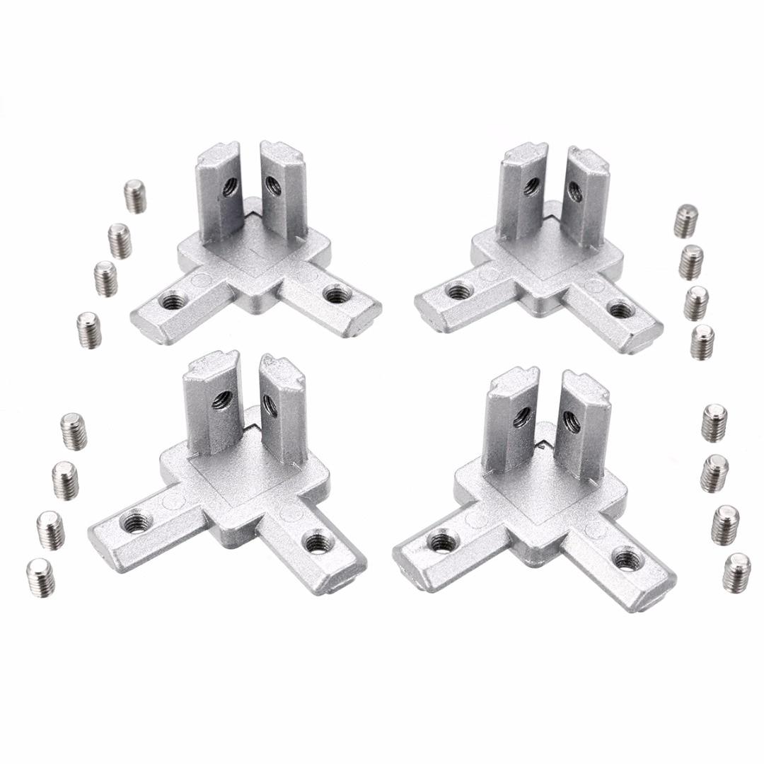 Durable 4pcs Aluminum Profile 3-way Corner Bracket 2020 T Slot + 16pcs Screw for 3D Printer