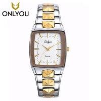 Männer Uhr ONLYOU Marke Luxus Glow Quadratischen edelstahl Armband Sport Armbanduhr Liebhaber partei Horloges Women Freies Schiff