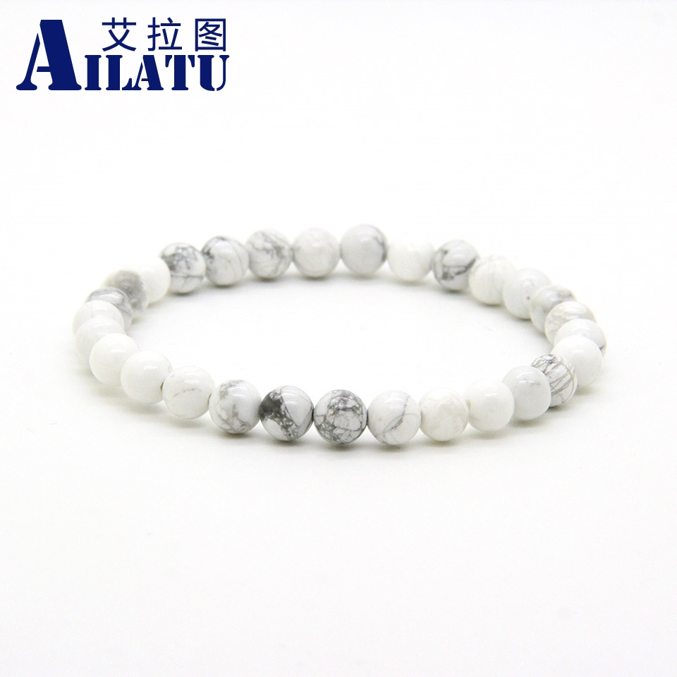 Ailatu Wholesale 10pcs/lot Mix colors 6mm White Marble, Matte Onyx, Snowflake Obsidian Stone Beads Elastic Pure Bracelets