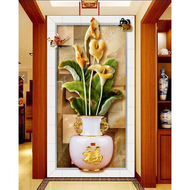 Wall paper d art mural chinese lotus relief vase