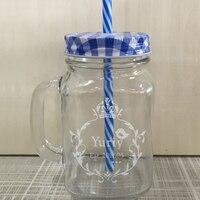 2017 Лидер продаж Творческий Mason jar-неваляшка кружка с крышкой соломы Стекло банки молоко пива Кружки бутылка для воды Чашки домашнего хранени...