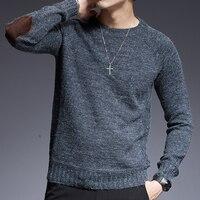 2019 новый модный брендовый свитер для мужчин с круглым вырезом, Облегающие джемперы, вязаные однотонные осенние повседневные мужские свитер...