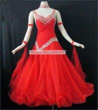 Red Ballroom Competition Dance Dress Women Led Suits Elegant Backless Ladys Standard Flamenco dresses