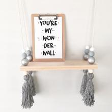 Nordic Beads Tassels Wood Board Wall Hanging Storage Shelf Kids Room Home Decor