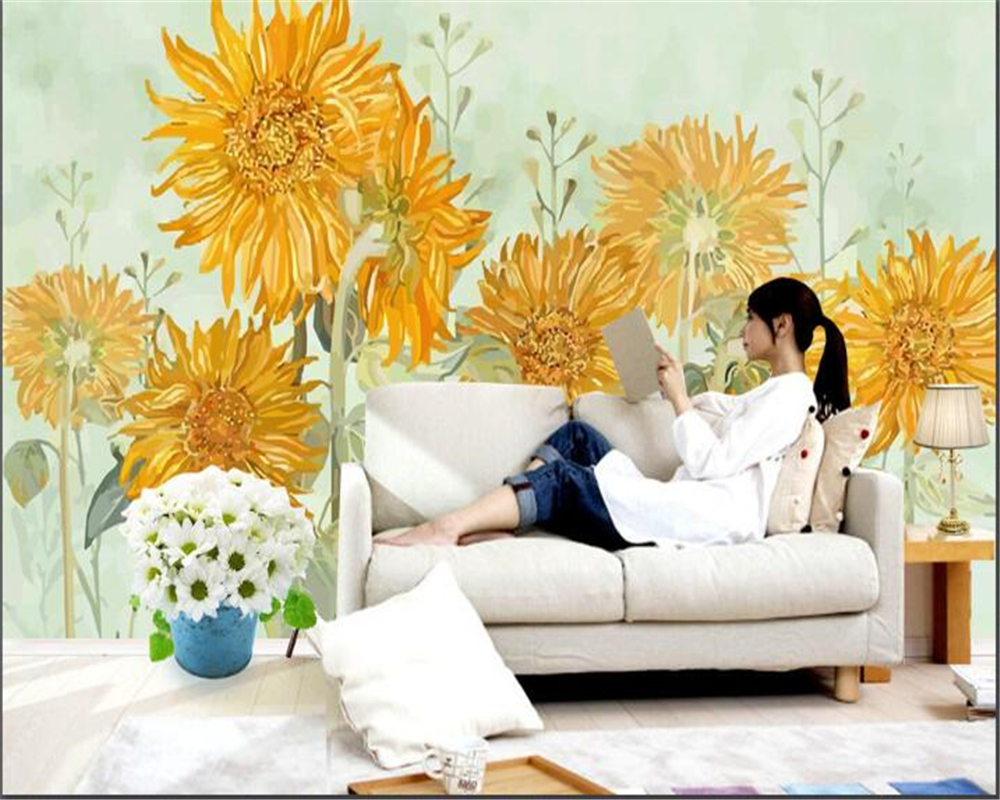 Beibehang Custom 3d Wallpaper Photo Mural Wallpaper Fashion Hand Painted Sunflower Home Decor Sofa Wall Papel De Parede
