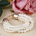 Sweet Girl Bracelet Statement Multilayer Pearl Jewelry Women Fashion Trendy Oval Simulated Pearl Bracelets Alloy Adjustable