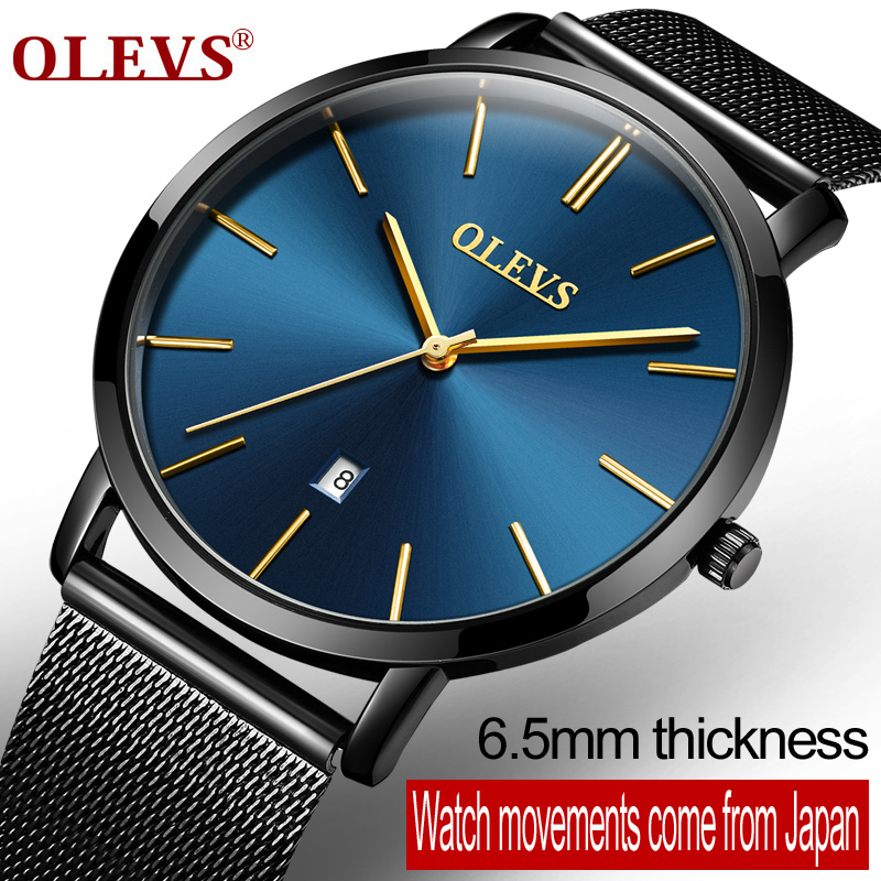OLEVS Ultrathin Design Waterproof Watch For Men Calendar Stell Mesh Strap Wristwatch Dial Quartz Business Men